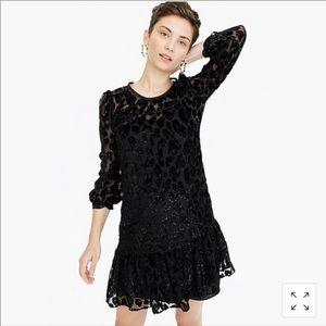J CREW flutter hem burnout leopard velvet dress